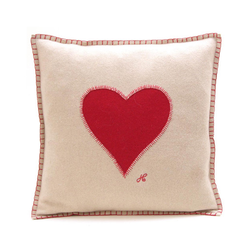 Heart cushion, cream and red wool, hand-embroidered