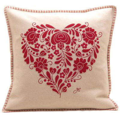 Romany Heart hand-embroidered cream and red cushion