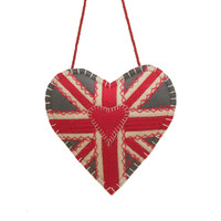 Union Jack heart lavender bag, grey cream and red wool