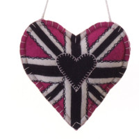 Union Jack heart lavender bag, pink wool, hand-embroidered