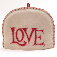 Love tea cosy, cream and red, wool