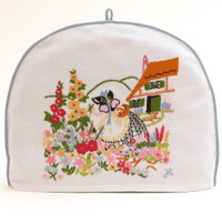 Flowers tea cosy, white linen
