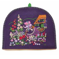 Flowers tea cosy, purple wool