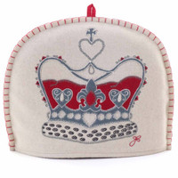 Crown tea cosy, cream wool, hand-embroidered