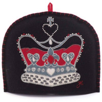 Crown tea cosy, black wool, hand-embroidered
