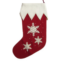 Appliqué Snowflake Christmas Stocking (Red & Gold)