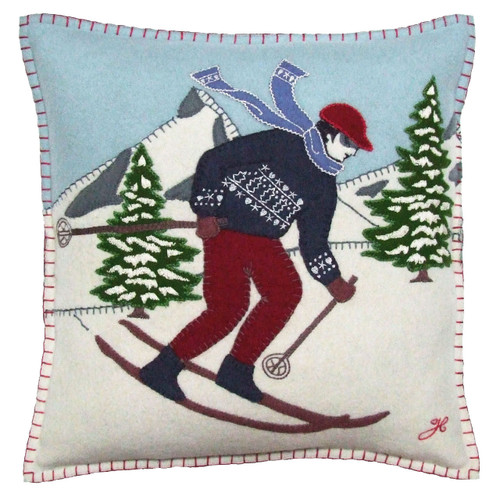 Skier man cushion, Christmas collection, mountains, snow, wool