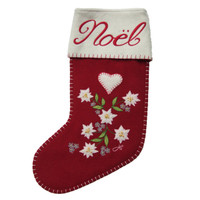 Noel Edelweiss Christmas stocking, red wool, flowers, hand-embroidered