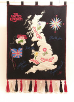 British Isles map wall hanging, black wool, hand-embroidered