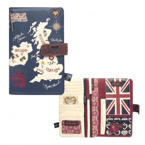 British Isles Map Travel Wallet, navy blue
