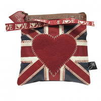 Union Jack heart make-up bag