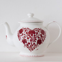 Romany red floral heart teapot, bone china