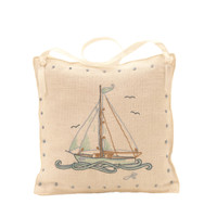 Boat lavender bag, linen, hand-embroidered