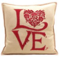 Romany Love cushion, designer, cream and red, wool