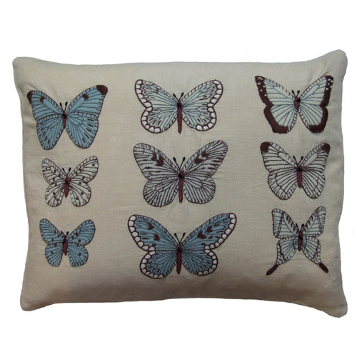 White and blue butterflies hand-embroidered cushion, linen