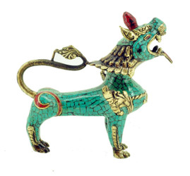 Snow Lion Statue, Brass with Turquoise and Coral Inlay
