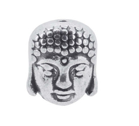 30 Bead Set, Buddha Head Silver Finishing Metal Beads