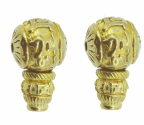 Set of 2 Brass Guru Beads, 11 mm with Om Mani Padme Hum Mantra