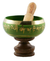 Green Buddhist singing bowl