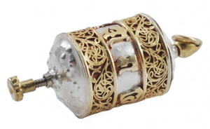 Sterling Silver and Gold Prayer Wheel Pendant