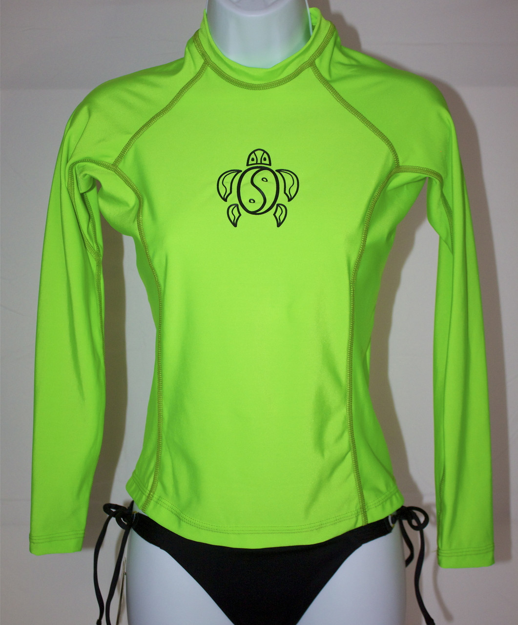 160833604 Women's Long Sleeve Neon Green Honu Rash Guard - (808)661-7828 ...
