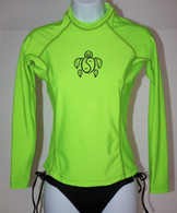 Women's Long Sleeve Neon Green Honu Rash Guard