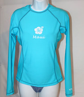 Women's Long Sleeve Aqua Hibiscus UV Shirt