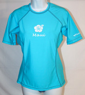 Women's Short Sleeve Aqua Hibiscus UV Shirt