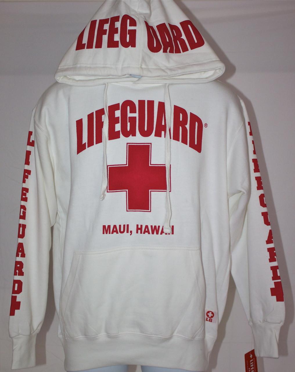11454e4b6c9 Lifeguard Hoodie in White (Unisex Sizing) - (808)661-7828 Maui s ...