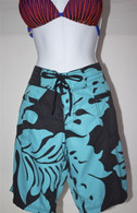 Women's Teal & Black Hibiscus Quick Dry Long Board Shorts