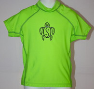 Kid's Short Sleeve Rash Guard in Neon Green
