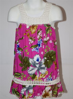 Girl's Hawaiian Floral Crochet Dress in Dark Pink