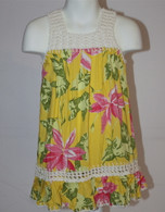 Girl's Hawaiian Floral Crochet Dress in Light Yellow