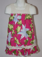 Girl's Hawaiian Floral Crochet Dress in Hot Pink