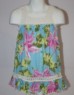 Girl's Hawaiian Floral Crochet Dress in Light Blue