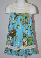 Girl's Hawaiian Floral Crochet Dress in Ocean Blue