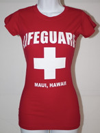 Women's Junior Baby-Doll Lifeguard T- Shirt in Classic Red