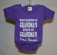 """What Happens at Grandma's Stays at Grandma's"" Maui, Hawaii Baby Onesie"