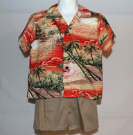 Boys Aloha Shirt And Short Set In Maui Sunset