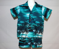 Boys Aloha Shirt And Short Set In Maui Moonlight