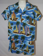 Boys Aloha Shirt And Short Set In Surf Board Paradise