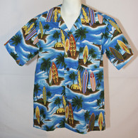 Junior Boy's Aloha Shirt In Surf Board Paradise