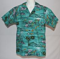Junior Boy's Aloha Shirt In Hawaiian Sea Life