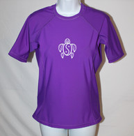 Women's Short Sleeve Purple Honu Rash Guard