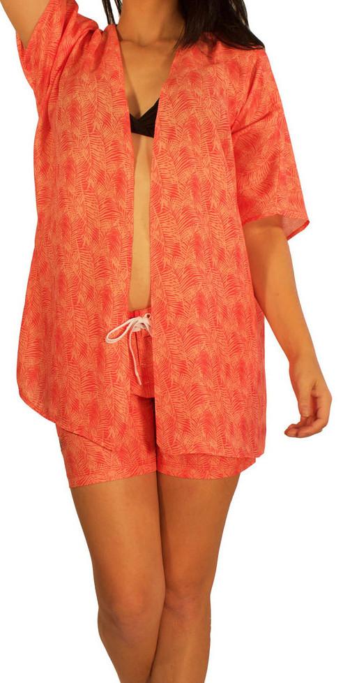 ea6481ac Women's Maui Rippers Kimono Wrap in Coral Palms - (808)661-7828 ...