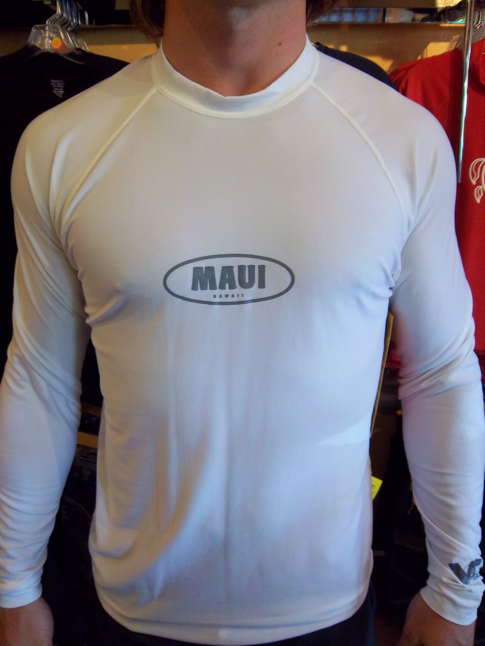 943c3de17 White Long Sleeve UV Shirt w/ Maui Logo. Click to enlarge