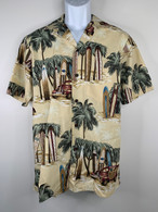 Men's Aloha Shirt In Tan Surfing Safaris
