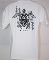 Men's Hawaiian Tribal Turtle T-Shirt in White