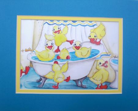 ducks in the tub print mat