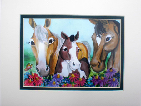 3 horses and flowers matted